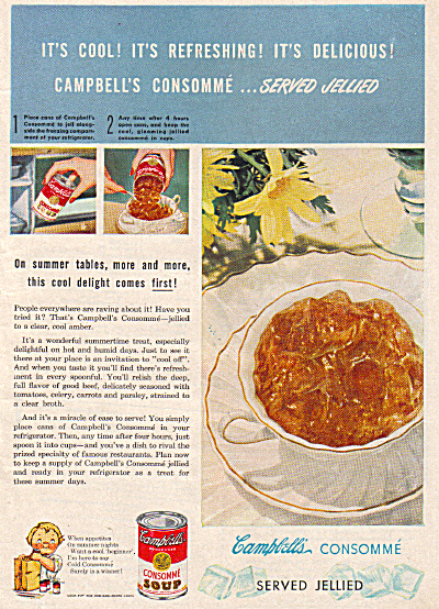 1947 Campbell's Consomme Jellied SOUP AD (Image1)