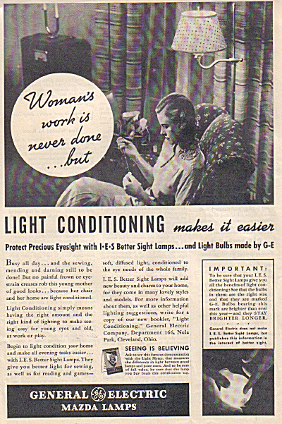 1937 G.E. Mazda Light Bulbs WOMAN'S WORK AD (Image1)