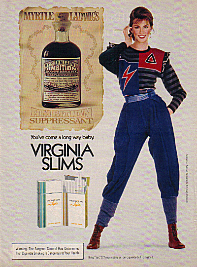 1985 Virginia Slims AMBITION SUPPRESSANT AD (Image1)