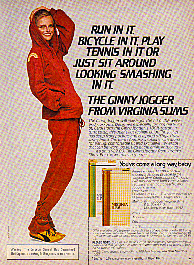 1977 Virginia Slims GINNY JOGGER Cigarette AD (Image1)