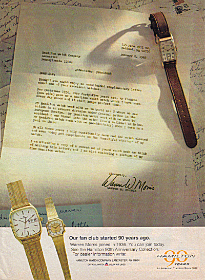 1982 Hamilton Watch Ad Vintage Letter 90th