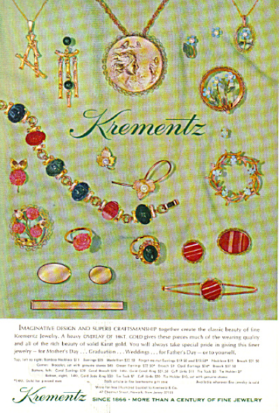 1972 Krementz Jewelry LOTS of Pieces AD (Image1)
