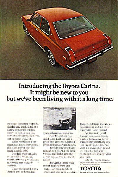 1972 Toyota Carina Red Car AD (Image1)