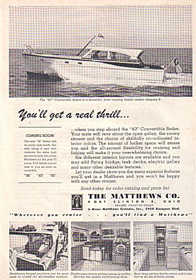 1963 Matthews 42 Sedan Cabin Cruiser Boat AD (Image1)
