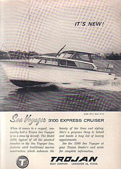 1963 TROJAN Sea voyager Cabin Cruiser Boat AD (Image1)