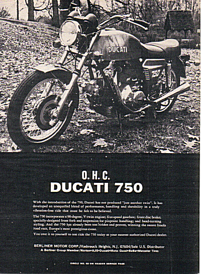 1973 DUCATI 750 Motorcycle Cycle AD (Image1)