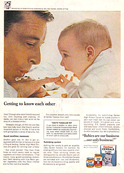 1966 Gerber Daddy And Baby Bringing Baby Ad