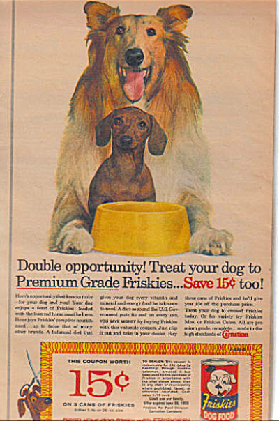 1959 COLLIE - Daschund FRISKIES DOG AD (Image1)