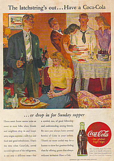 1945 Coca Cola COKE AD GUSTAVSON Party AD (Image1)