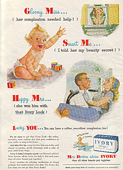 1945 IVORY Soap Gloomy Miss Happy Mrs. AD (Image1)