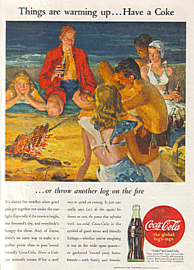 1945 COCA COLA Coke Party on the Beach AD (Image1)