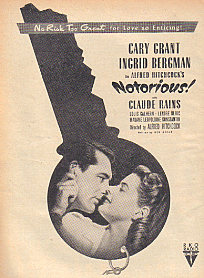 1947 NOTORIOUS CARY GRANT BERMAN MOVIE AD (Image1)