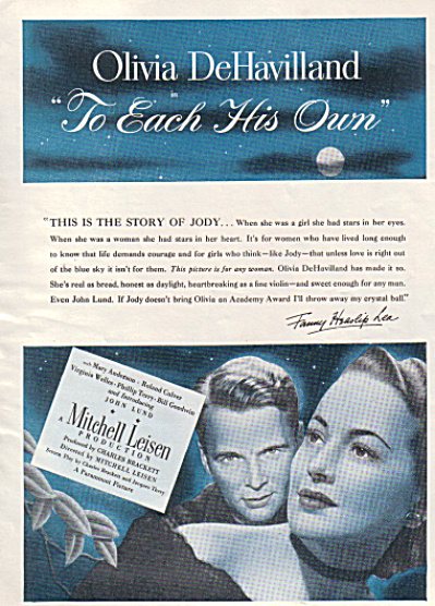 1946 OLIVIA DeHAVILLAND Each His Own Movie AD (Image1)