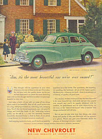 1946 CHEVROLET Body by FISHER SEDAN CAR AD (Image1)