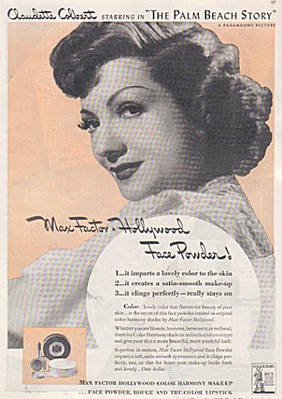 1942 MAX FACTOR COSMETIC AD~Claudette Colbert (Image1)