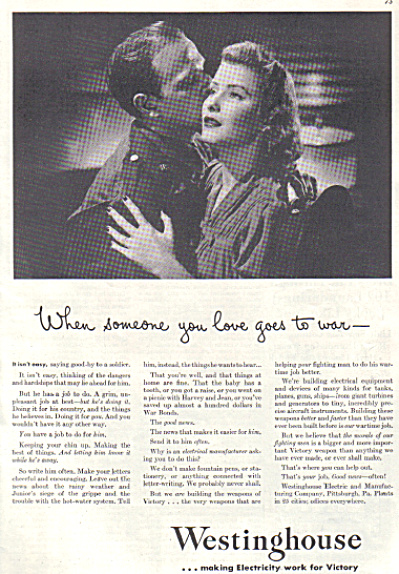 Wartime WHEN SOMEONE YOU LOVES GOES TO WAR AD (Image1)