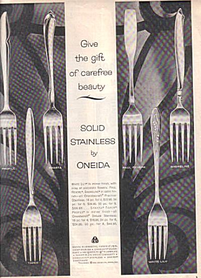 1960 Oneida Silverware Ad Profile Shasta ++++ (Image1)