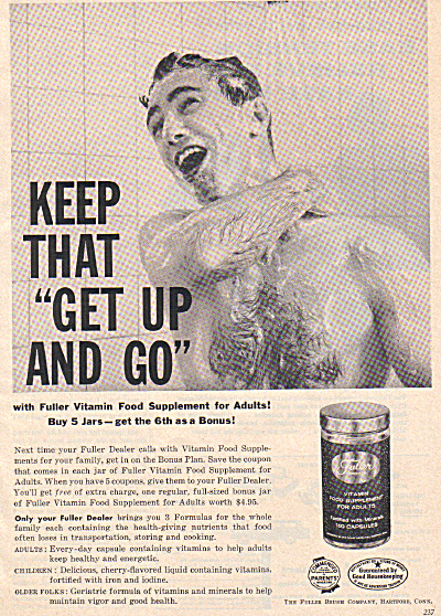 1957 Fuller Vitamin Naked Man In Shower Ad (Image1)