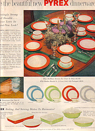 1953 Pyrex FLAMINGO Product Line AD Bakers (Image1)
