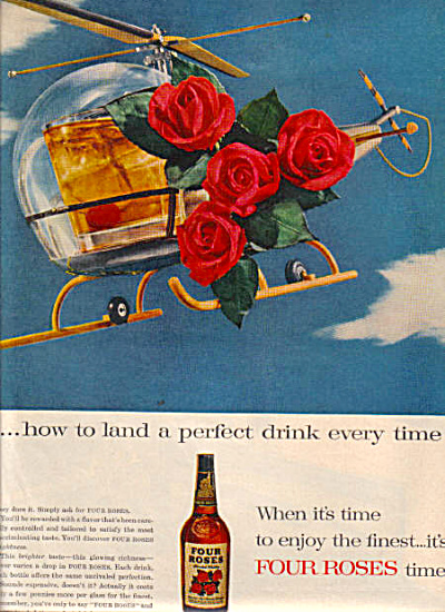 1950's FOUR ROSES Whiskey Helicopter AD (Image1)