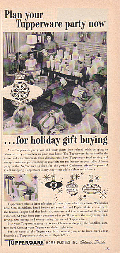 1958 Vintage TUPPERWARE PARTY Host AD (Image1)