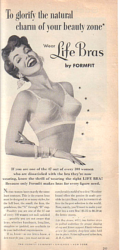 1954 FORMFIT LIFE Bra ~ Laughing LADY AD (Image1)
