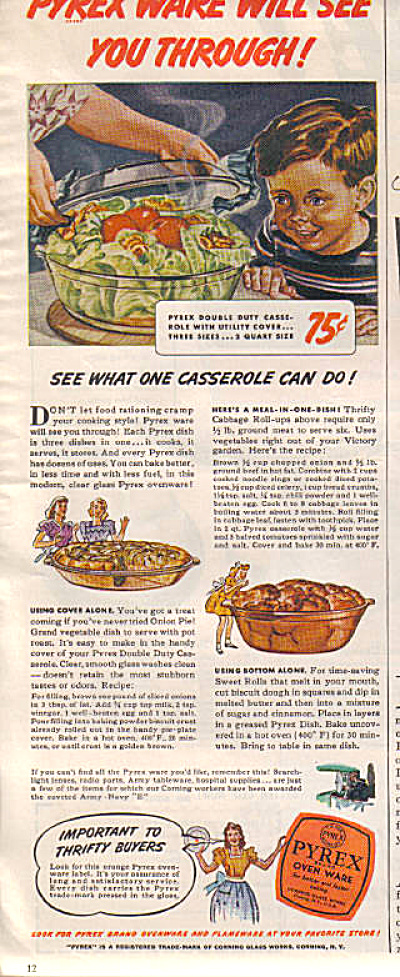 1943 Pyrex Ware Wartime Oven Ware Meals Ad (Image1)