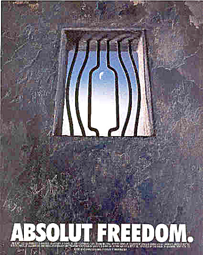 Absolut Freedom Jail Bars Ad 1996