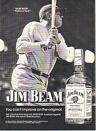 1974 BABE RUTH - JIM BEAM Whiskey Original Ad (Image1)