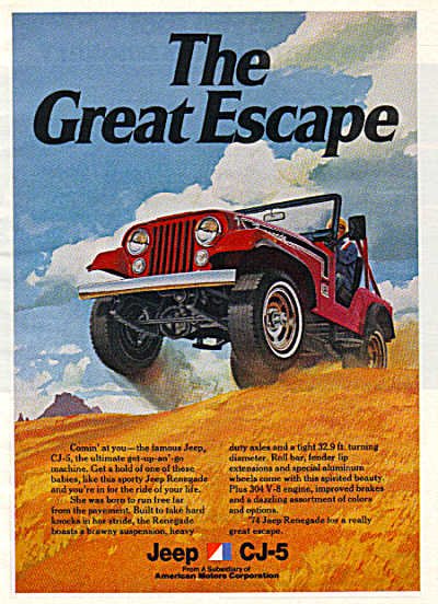 1974 JEEP CJ-5 GREAT ESCAPE Car AD RENEGADE (Image1)