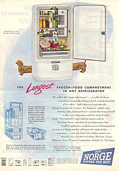 1947 Norge Refrigerator DASCHUND Original Ad (Image1)