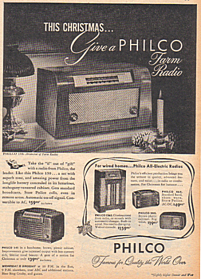 1947 Philco Farm Radio 5 Models Ad