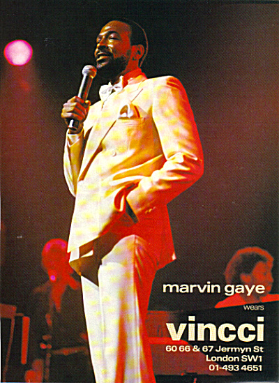 UK MARVIN GAYE wears VINCCI 1983 Clothing AD (Image1)
