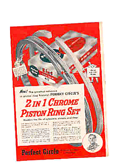1951 PERFECT CIRCLE Chrome Piston Ring Set Ad (Image1)