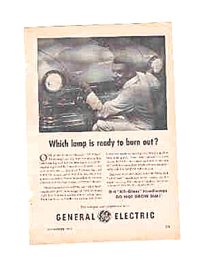 1951 General Electric All-Glass Headlamp Ad (Image1)