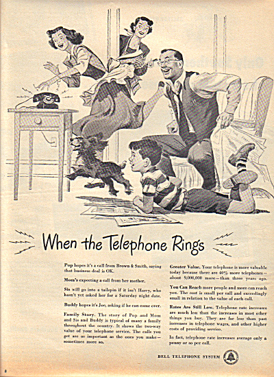 1949 BELL TELEPHONE Family Cartoon AD (Image1)