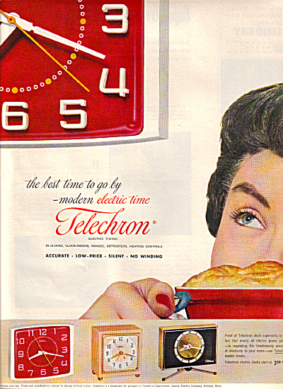 1953 TELECHRON Clock Time Models AD (Image1)