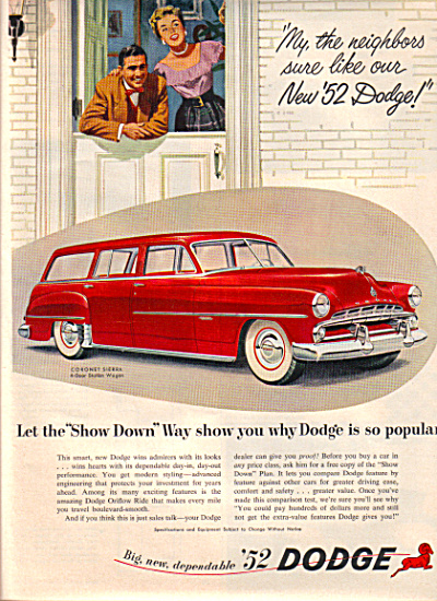 1952 DODGE CORONET Sierra RED Car AD SHOW DWN (Image1)