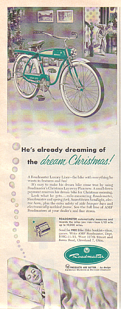 1953 AMF ROADMASTER Luxury Liner Bike AD XMAS (Image1)