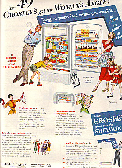 1949 Crosley Shelvador Appliances Family Ad (Image1)