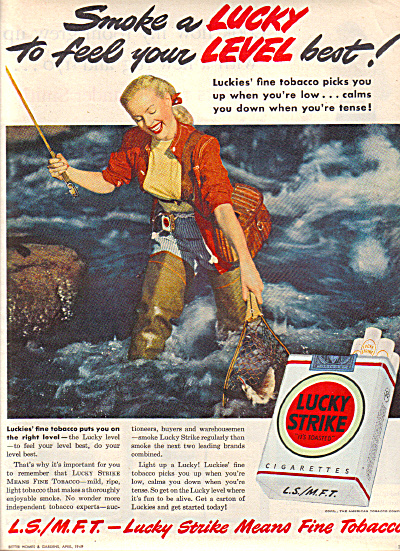 1949 Lucky Strike LADY TROUT FISHING Ad (Image1)
