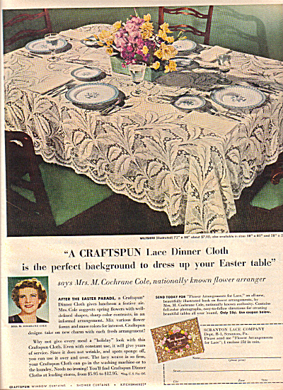 1949 Craftspun WILTSHIRE Lace Tablecloth AD (Image1)