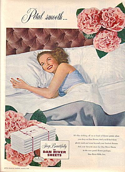 1949 Dan River PETAL Sheet Beautiful Woman AD (Image1)