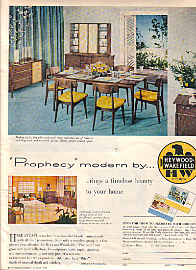 1957 Heywood Wakefield MODERN Furniture Ad (Image1)
