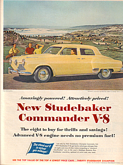 1951 Studebaker  Commander V-8 Yellow Car Ad (Image1)