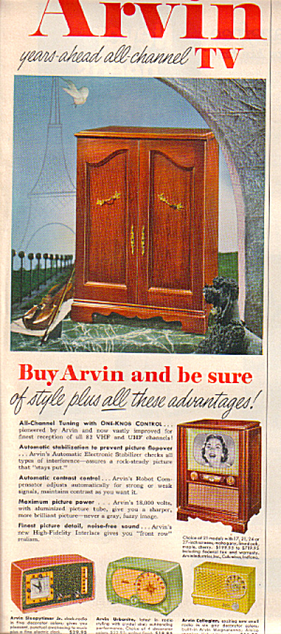 1953 Original ARVIN Table Radio - TV AD (Image1)