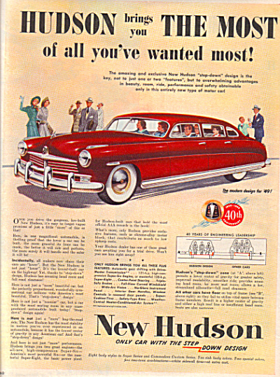 1949 HUDSON New Car AD SLEEK Sedan (Image1)