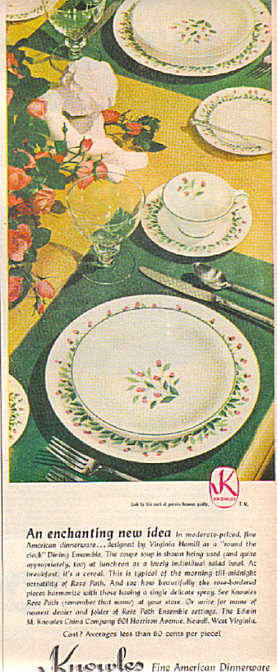 1949 Knowles China ROSE PATH Dinnerware AD (Image1)