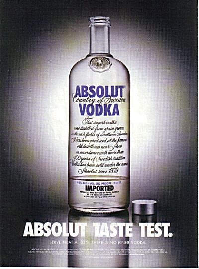 ABSOLUT TASTE TEST Vodka AD (Image1)