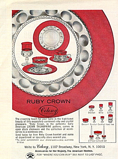 1967 Colony RUBY CROWN Thumbprint AD w/pcs (Image1)